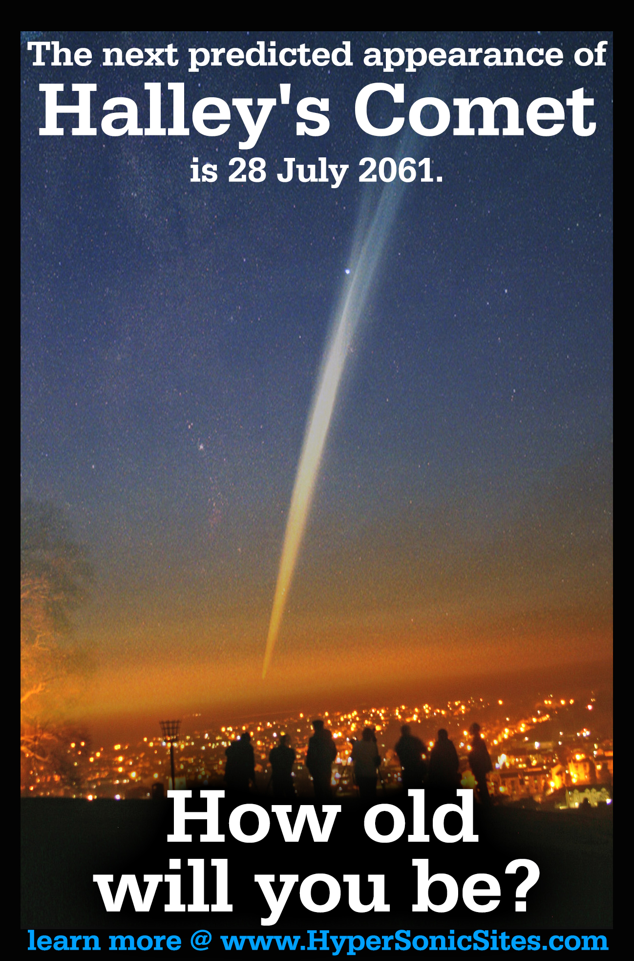 The next predicted appearance of Halley's Comet is 28 July 2061. How old  will you be?